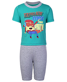 Kanvin Half Sleeves T-Shirt And Legging Cartoon Print - Parrot Green And Grey