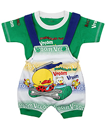 Babyhug Dungaree With T-Shirt Duck Design - Green