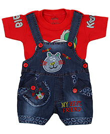 Babyhug Dungaree With Half Sleeves T-Shirt Cat Embroidery - Red And Blue