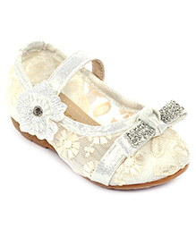 Cute Walk Belly Shoes Floral And Studded Design - White