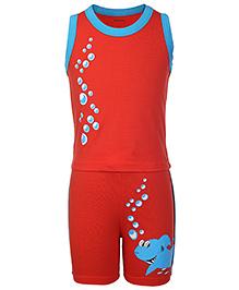 Kanvin Sleeveless Top And Shorts Bubbles And Shark Print - Orange