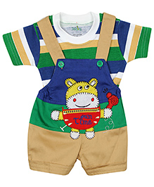 Babyhug Dungaree With Half Sleeves T-Shirt Tiger Embroidery - Khaki And Blue