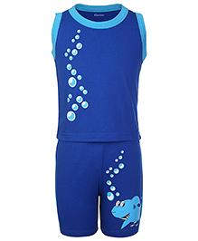 Kanvin Sleeveless Top And Shorts Bubbles And Shark Print - Royal Blue