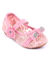 Cute Walk Belly Shoes Floral And Studded Design - Pink