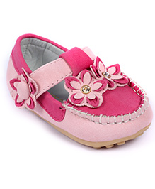 Cute Walk Baby Loafer Style Bellies Floral Motif - Pink