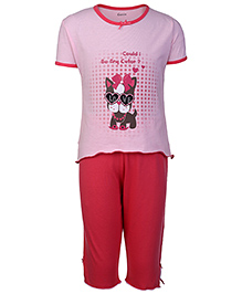 Kanvin Half Sleeves T-Shirt And Legging Puppy Print - Pink