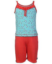 Kanvin Singlet Top And Legging Hearts Print - Green And Orange