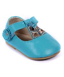 Cute Walk Party Bellies Velcro Closure Studded Stones - Blue