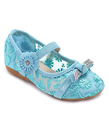 Cute Walk Belly Shoes Floral Embroidery - Blue