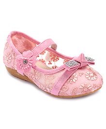 Cute Walk Belly Shoes Floral Embroidery - Pink