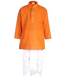 Babyhug Mandarin Collar Kurta With Dhoti - Orange