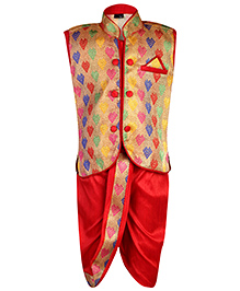 Babyhug Embroidered Jodhpuri Suit And Dhoti Set - Red