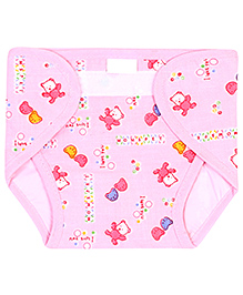 Babyhug Waterproof Nappy Large Teddy Print Single Piece - Assorted Colors - 9 To 24 Months