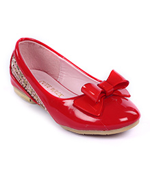 Cute Walk Belly Shoes Bow Applique And Studded Design - Red