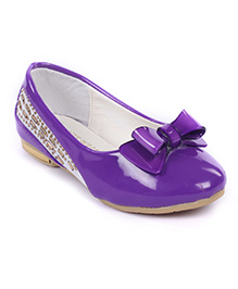 Cute Walk Belly Shoes Bow Applique And Studded Design - Purple