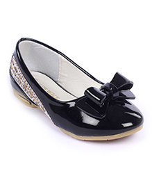 Cute Walk Belly Shoes Bow Applique And Studded Design - Black