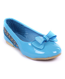 Cute Walk Belly Shoes Bow Applique And Studded Design - Blue