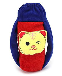 Babyhug Plush Bottle Cover Baby Tiger Face - Blue And Red