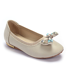 Cute Walk Party Belly Shoes Studded Bow Motif - Beige