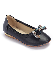 Cute Walk Party Belly Shoes Studded Bow Motif - Black
