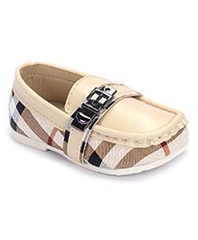 Cute Walk Loafer Shoes Stripes Design - Beige