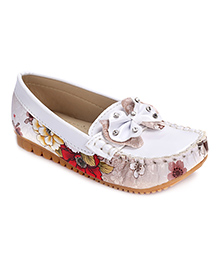 Cute Walk Loafer Shoes Bow Motif - White