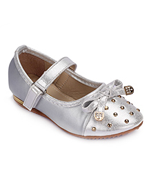 Cute Walk Party Bellies Velcro Closure Studded Design - Silver