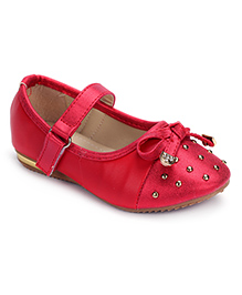 Cute Walk Party Bellies Velcro Closure Studded Design - Red