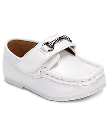 Cute Walk Loafer Shoes Velcro Closure - White
