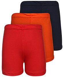 Babyhug Shorts Set of 3 - Navy Red And Orange