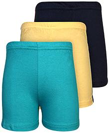 Babyhug Shorts Set of 3 - Yellow Navy And Green