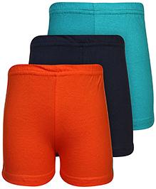 Babyhug Shorts Set of 3 - Orange Green And Navy