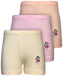 Babyhug Shorts Character Print Set of 3 - Peach Pink And Yellow