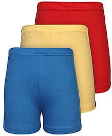 Babyhug Shorts Set of 3 - Red Yellow And Blue
