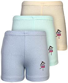 Babyhug Shorts Character Print Set of 3 - Blue Light Green And Yellow