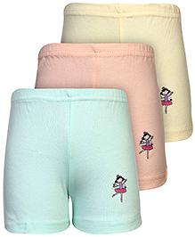 Babyhug Shorts Character Print Set of 3 - Peach Yellow And Light Green