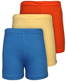 Babyhug Shorts Set of 3 - Yellow Blue And Orange