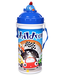 Sipper Water Bottle Children And Car Print 700 ml - Blue And White