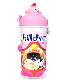Sipper Water Bottle Children Print 700 ml - Pink And White