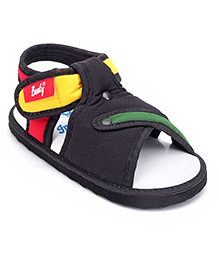 Indman Booty Sandal With Velcro Closure - Black And White