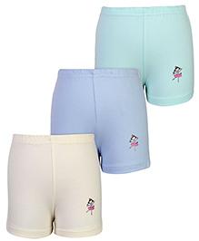 Babyhug Shorts Character Print Set Of 3 - Blue Green And Cream