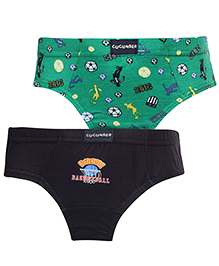 Cucumber V Shaped Briefs Set Of 2 Printed And Solid Colour - Green And Black