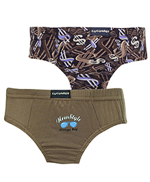 Cucumber V Shaped Briefs Set Of 2 Printed And Solid Colour - Khaki And Brown