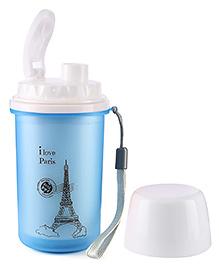 Paris Print Sipper Water Bottle Blue - 300 ml