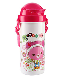 Sipper Water Bottle Sporty Print 450 ml - White And Pink