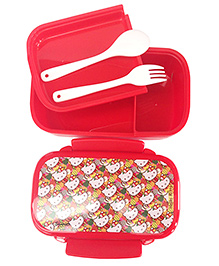 Hello Kitty Lunch Box With Fork And Spoon - Red