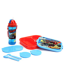 Hotwheels Lunch Box And Water Bottle Combo Set - Blue And Red