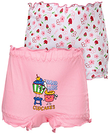Cucumber Bloomers Set Of 2 Printed And Solid Colour - Pink And White