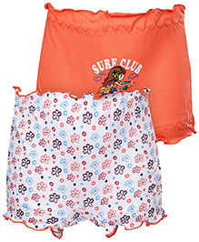 Cucumber Bloomers Set Of 2 Printed And Solid Colour - Orange And White