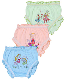 Cucumber Bloomers Set Of 3 Printed - Sky Blue Light Green And Peach